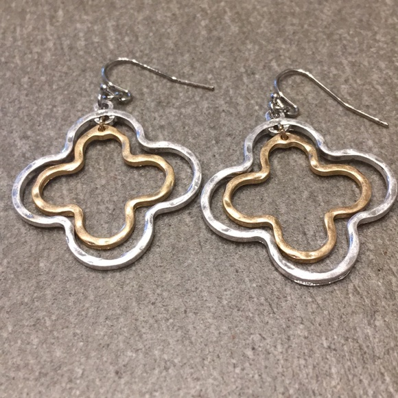 fc975ae83 Matte Hammered Silver & Gold Clover Earrings. M_5ce6ed42969d1fbda7090d2e